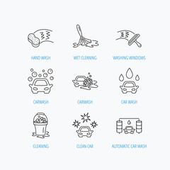 Car wash icons. Cleaning station linear signs.