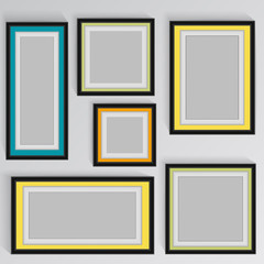 wooden square picture frames color rainbow set for your web design