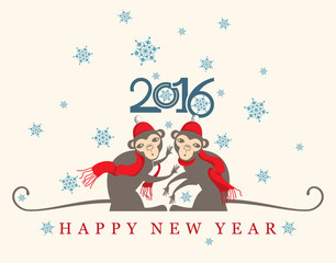Two pretty monkeys under the snow. New year Retro Card.