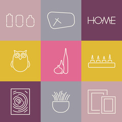 Seamless pattern of interior decoration. Collection of Modern Interior Decoration icons for design. Loft style. Vector illustration