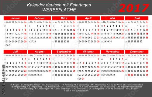 kalender 2017 grau rot quer deutsch mit feiertagen stockfotos und lizenzfreie. Black Bedroom Furniture Sets. Home Design Ideas