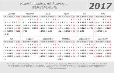 Kalender 2017 - grau - quer