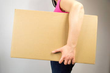woman holding the box