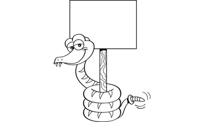Black and white illustration of a snake holding a sign.