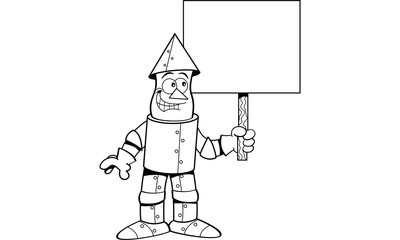 Black and white illustration of a tin man holding a sign.