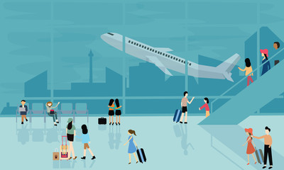 people at airport vector travel activities illustration  departure arrival  flight plane busy