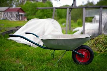 Garden wheelbarrow on courtyard