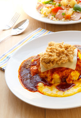 Thai Food, Creamy omelet with chili paste sauce.