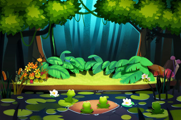 Illustration: Night Comes in the Forest. Every Creature is Going to Fall Asleep. Realistic Fantastic Cartoon Style Scene / Wallpaper / Background Design.