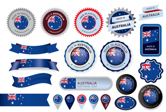 Made in Australia Seal, Australian Flag (Vector Art)