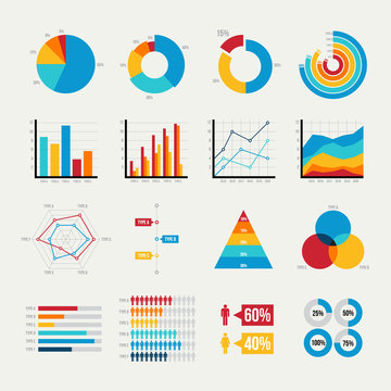 Graph elements of business with flat design