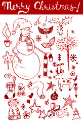 Winter holidays ink doodles on white background