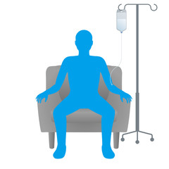 drip room and person silhouette, who receives a intravenous drip, image illustration