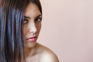 Portrait of a beautiful young woman. Shallow depth of field. Selective focus on the lips.