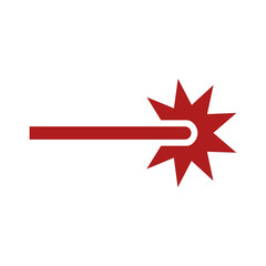Red laser beam ray icon for apps and websites