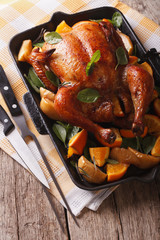 roast chicken with apples and oranges close-up in a pan. vertical