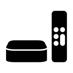 Digital media player setup box with remote flat icon for apps and websites