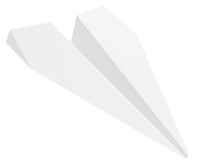 Paper plane. Isolated on white background. Clean 3d render