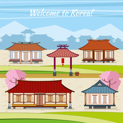 Old Korean town with traditional houses. Vector background in flat design style