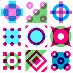 Wall Mural - Abstract vintage geometric seamless pattern with simple shapes