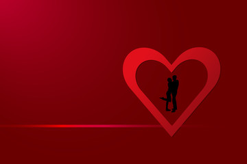 Black silhouette of a couple is standing in a red frame in the shape of a heart with gradient horizontal link. Everything is on a red background with light in the upper left corner.