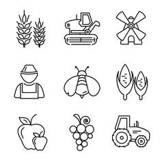Wall Mural - Farm line vector icons set