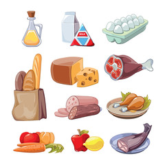 Common everyday food products. Vector cartoon icons