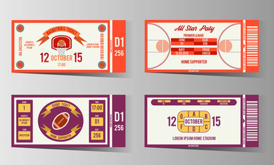 Rugby and Basketball ticket vector design template