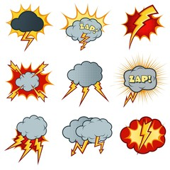 Lightning icons vector set in cartoon comic style