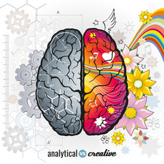 Left analytical and right creativity brain functions vector concept illustrations
