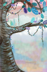 Illustration: Artwork: The Tree with Colorful Background. Realistic Fantastic Cartoon Style Scene / Wallpaper / Background / Character Design.