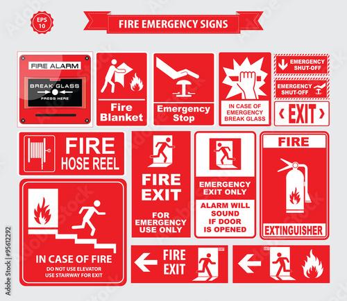 Quot Fire Emergency Signs Emergency Shut Off Break Glass