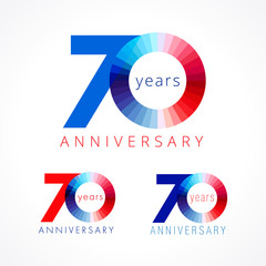70 anniversary red and blue logo. The colorful template icon of 70th birthday.