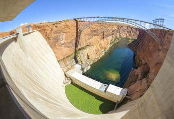 Aluminium Prints Dam Fisheye lens picture of Glen Canyon Dam and bridge, Arizona, USA