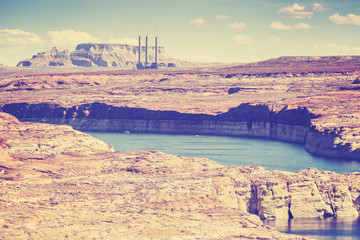 Vintage old film style photo of Lake Powell and Glen Canyon, USA