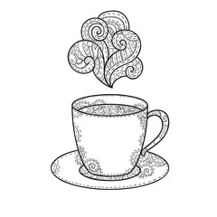 Coffee cup aroma vector doodle illustration.