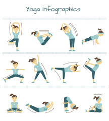 Spine, neck and muscle pain exercises. Vector yoga infographics