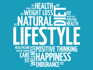 LIFESTYLE word cloud, fitness, sport, health concept
