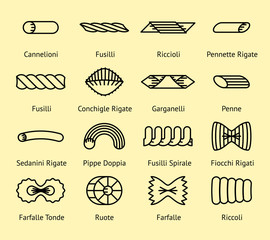 Different pasta types vector line icons set