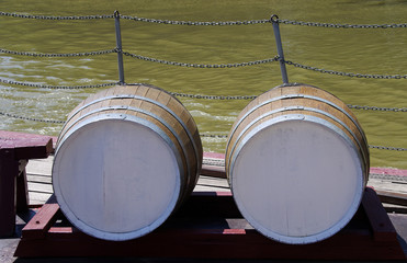 two wooden wine barrels