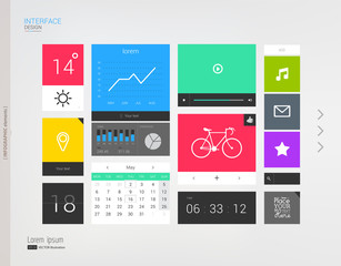 Interface template with modern icons.