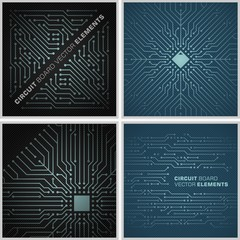 Circuit board backdrop vector elements / abstract decorations black and blue
