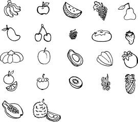 Illustration Fruits 22 line art black and white