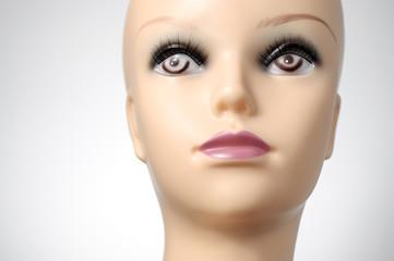 Closeup of a female mannequin head