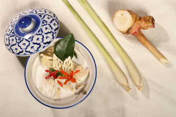 "chicken soup with coconut milk mixed herb galangal and lemongrass thai food  call "" tom ka kai"""