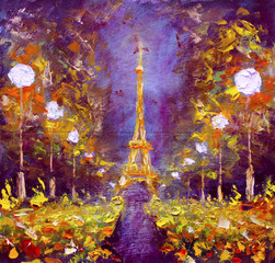 Oil painting - Eiffel Tower in night France by Rybakow