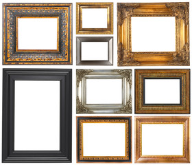 Antique frames isolated on white background..