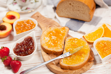 Slices of bread with jam