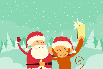Santa Clause Christmas Monkey Cartoon Character Taking Selfie Photo On Smart Phone