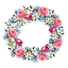 Flowers rose with leaves, wreath